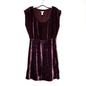 J.CREW velvet blouson dress wine color size 6